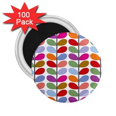 Colorful Bright Leaf Pattern Background 2 25  Magnets (100 Pack)  by Simbadda