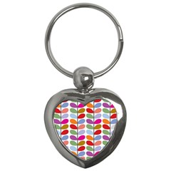 Colorful Bright Leaf Pattern Background Key Chains (heart)  by Simbadda