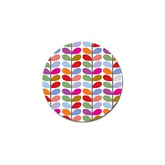 Colorful Bright Leaf Pattern Background Golf Ball Marker (10 Pack) by Simbadda