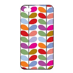 Colorful Bright Leaf Pattern Background Apple iPhone 4/4s Seamless Case (Black)