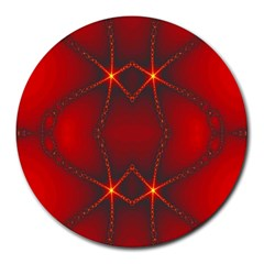 Impressive Red Fractal Round Mousepads by Simbadda