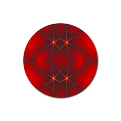 Impressive Red Fractal Rubber Coaster (round)  by Simbadda