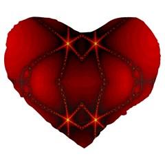 Impressive Red Fractal Large 19  Premium Heart Shape Cushions by Simbadda