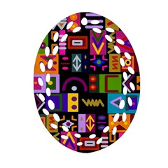 Abstract A Colorful Modern Illustration Oval Filigree Ornament (two Sides) by Simbadda