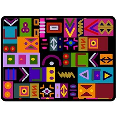Abstract A Colorful Modern Illustration Double Sided Fleece Blanket (large)  by Simbadda