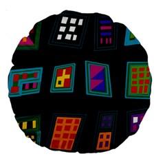 Abstract A Colorful Modern Illustration Large 18  Premium Round Cushions by Simbadda