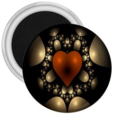 Fractal Of A Red Heart Surrounded By Beige Ball 3  Magnets by Simbadda