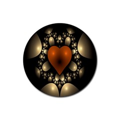 Fractal Of A Red Heart Surrounded By Beige Ball Rubber Round Coaster (4 Pack)