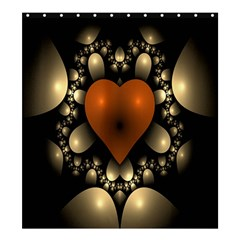 Fractal Of A Red Heart Surrounded By Beige Ball Shower Curtain 66  X 72  (large)  by Simbadda