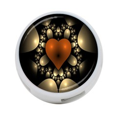 Fractal Of A Red Heart Surrounded By Beige Ball 4 Port Usb Hub (one Side) by Simbadda