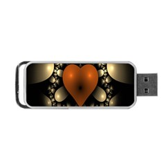 Fractal Of A Red Heart Surrounded By Beige Ball Portable Usb Flash (two Sides) by Simbadda