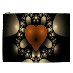 Fractal Of A Red Heart Surrounded By Beige Ball Cosmetic Bag (xxl)  by Simbadda