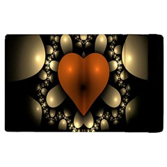 Fractal Of A Red Heart Surrounded By Beige Ball Apple Ipad 3/4 Flip Case by Simbadda