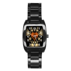 Fractal Of A Red Heart Surrounded By Beige Ball Stainless Steel Barrel Watch by Simbadda