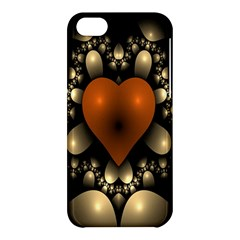 Fractal Of A Red Heart Surrounded By Beige Ball Apple Iphone 5c Hardshell Case by Simbadda