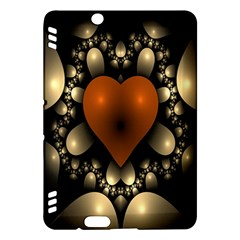 Fractal Of A Red Heart Surrounded By Beige Ball Kindle Fire Hdx Hardshell Case by Simbadda