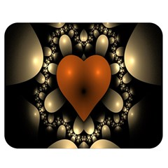 Fractal Of A Red Heart Surrounded By Beige Ball Double Sided Flano Blanket (medium)  by Simbadda
