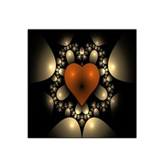 Fractal Of A Red Heart Surrounded By Beige Ball Satin Bandana Scarf by Simbadda