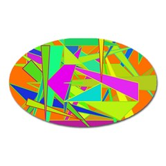 Background With Colorful Triangles Oval Magnet by Simbadda