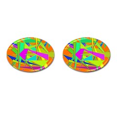 Background With Colorful Triangles Cufflinks (oval) by Simbadda