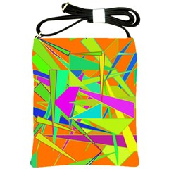 Background With Colorful Triangles Shoulder Sling Bags by Simbadda