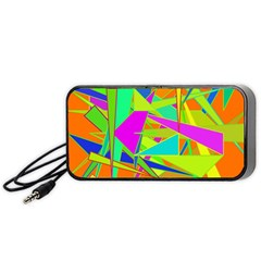 Background With Colorful Triangles Portable Speaker (black) by Simbadda