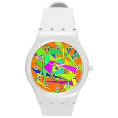 Background With Colorful Triangles Round Plastic Sport Watch (m) by Simbadda