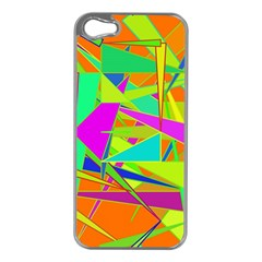 Background With Colorful Triangles Apple Iphone 5 Case (silver) by Simbadda
