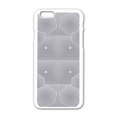Grid Squares And Rectangles Mirror Images Colors Apple Iphone 6/6s White Enamel Case by Simbadda
