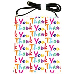Wallpaper With The Words Thank You In Colorful Letters Shoulder Sling Bags by Simbadda
