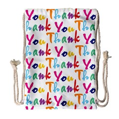 Wallpaper With The Words Thank You In Colorful Letters Drawstring Bag (large) by Simbadda