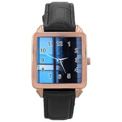 Modern Office Window Architecture Detail Rose Gold Leather Watch  by Simbadda