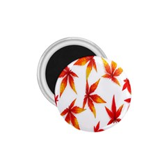 Colorful Autumn Leaves On White Background 1 75  Magnets by Simbadda
