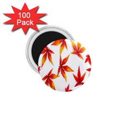 Colorful Autumn Leaves On White Background 1 75  Magnets (100 Pack)  by Simbadda