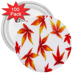 Colorful Autumn Leaves On White Background 3  Buttons (100 Pack)  by Simbadda