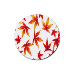 Colorful Autumn Leaves On White Background Rubber Round Coaster (4 Pack)  by Simbadda