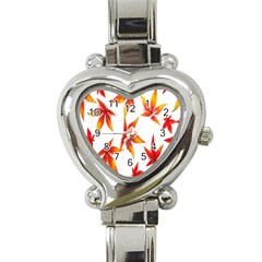 Colorful Autumn Leaves On White Background Heart Italian Charm Watch by Simbadda
