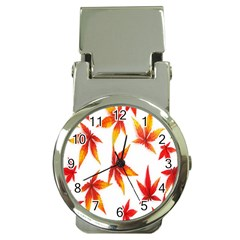 Colorful Autumn Leaves On White Background Money Clip Watches by Simbadda