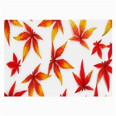 Colorful Autumn Leaves On White Background Large Glasses Cloth by Simbadda