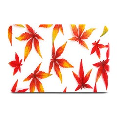 Colorful Autumn Leaves On White Background Plate Mats by Simbadda