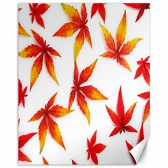 Colorful Autumn Leaves On White Background Canvas 11  X 14   by Simbadda