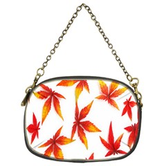 Colorful Autumn Leaves On White Background Chain Purses (one Side)  by Simbadda
