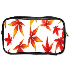 Colorful Autumn Leaves On White Background Toiletries Bags 2 Side by Simbadda