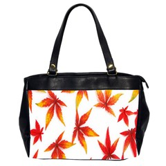 Colorful Autumn Leaves On White Background Office Handbags (2 Sides)  by Simbadda