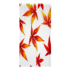 Colorful Autumn Leaves On White Background Shower Curtain 36  X 72  (stall)  by Simbadda