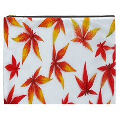Colorful Autumn Leaves On White Background Cosmetic Bag (XXXL)