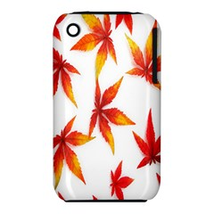 Colorful Autumn Leaves On White Background Iphone 3s/3gs by Simbadda