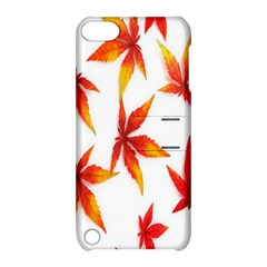 Colorful Autumn Leaves On White Background Apple Ipod Touch 5 Hardshell Case With Stand by Simbadda