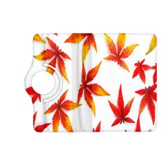 Colorful Autumn Leaves On White Background Kindle Fire Hd (2013) Flip 360 Case by Simbadda