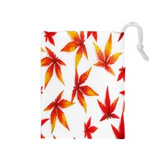 Colorful Autumn Leaves On White Background Drawstring Pouches (medium)  by Simbadda